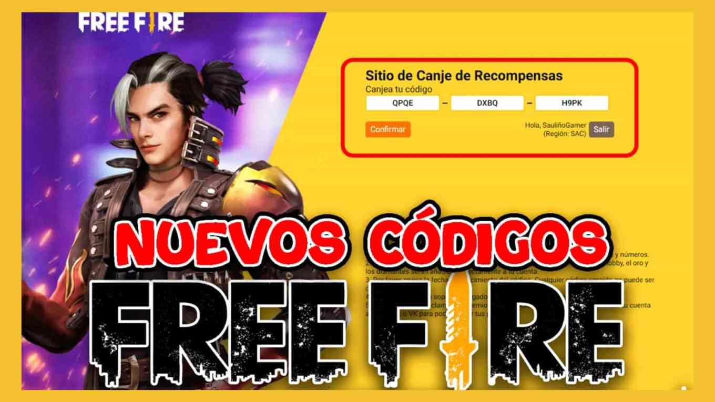 codigos free fire canjear